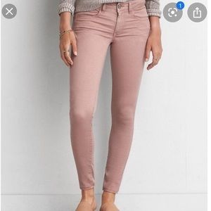 AEO super stretch high waisted satin pink jeggings